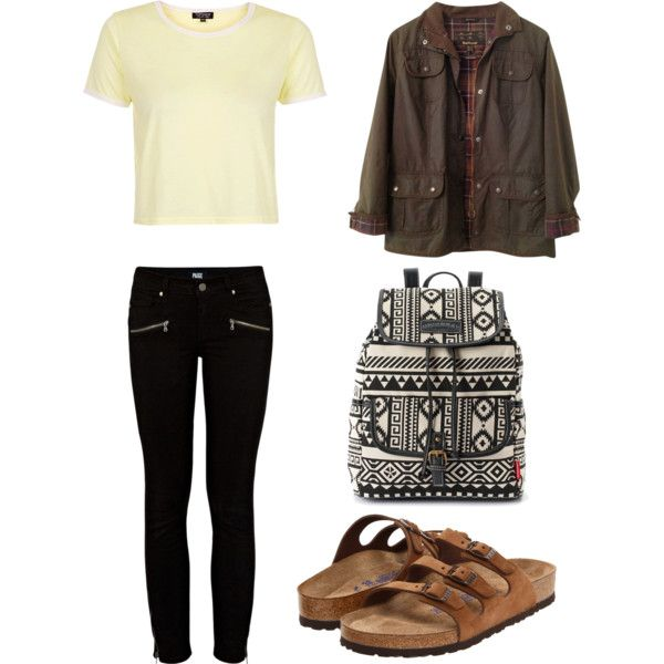 . by xxlukehemmingspropertyxx on Polyvore featuring polyvore fashion style Topshop Barbour Paige Denim Birkenstock UNIONBAY