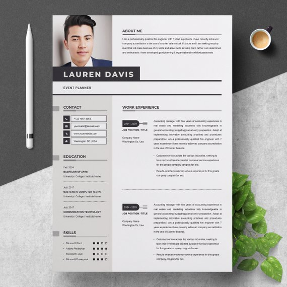 """A template is simply multiple file formats microsoft word document (or mac pages document, photoshop (psd) illustrator (eps) that is formatted using """"text boxes"""" Professional Resume Template For Word Apple Pages Cv Resume Etsy Resume Template Professional Cover Letter For Resume Resume Template Word"""