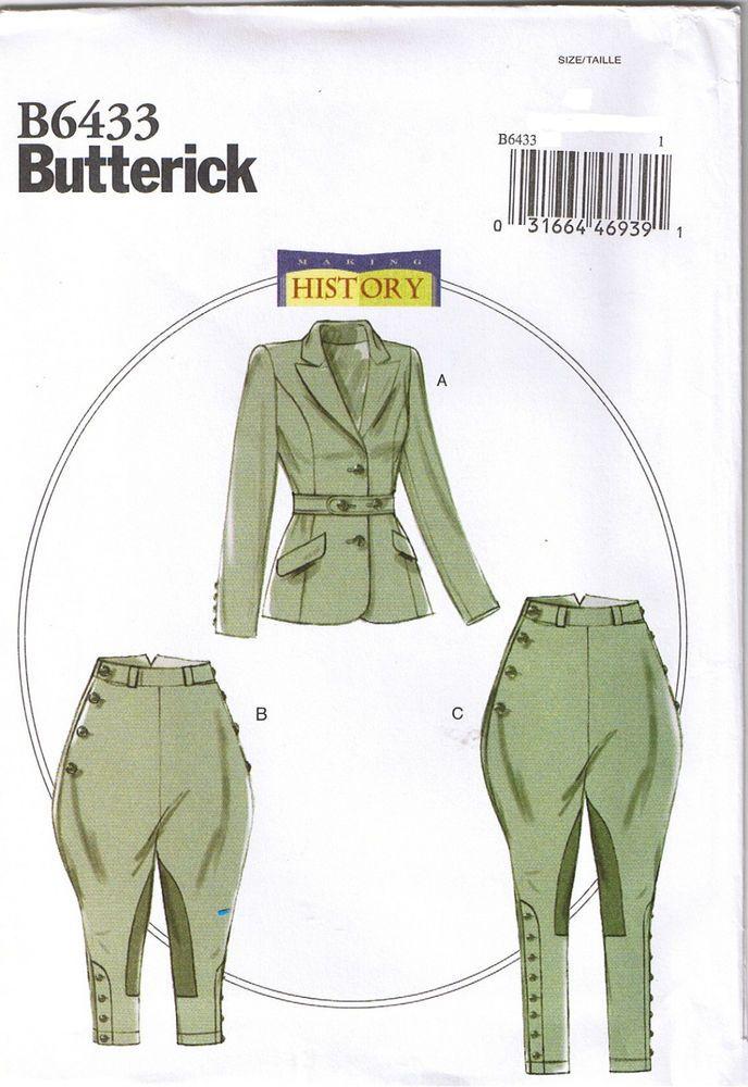 Edwardian Riding Breeches Jacket Jodhpurs Costume Sewing Pattern 14 ...