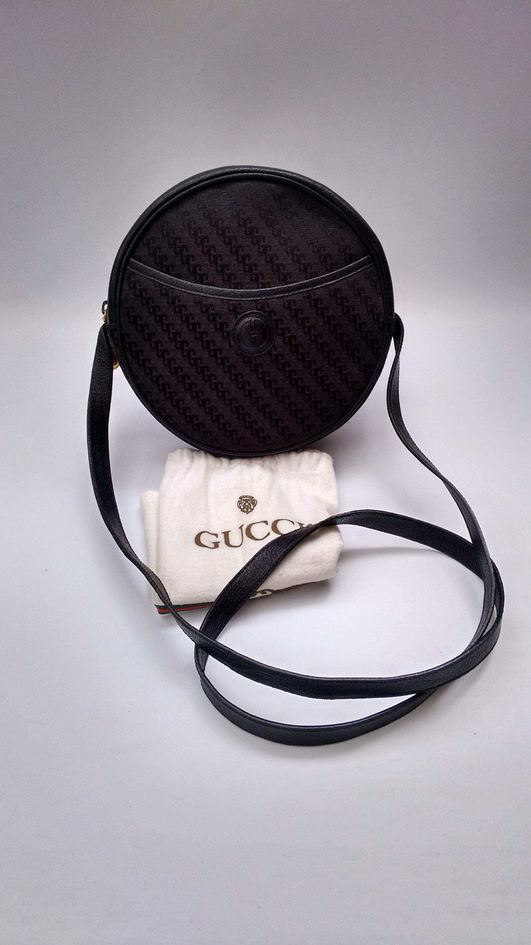 4d5953cc3c8f GUCCI Bag. Gucci Vintage GG Monogram Black Round Shoulder Bag. Italian  designer purse with a dustbag. Tom Ford Era.