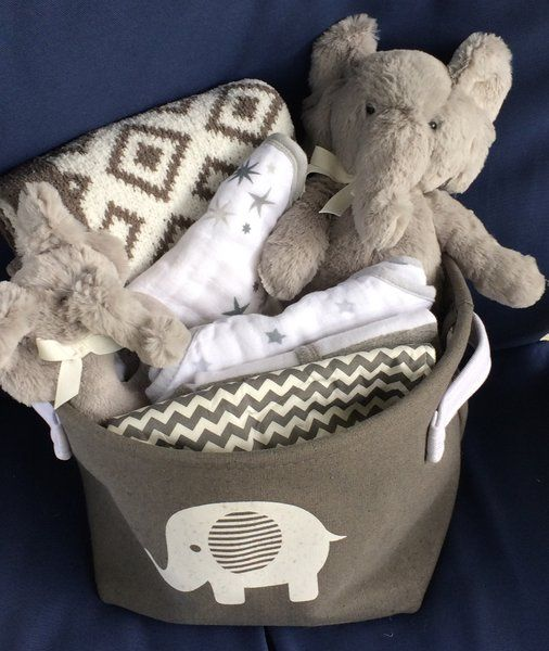 Ellie Elephant Baby Basket Gray Gender Neutral Uni Shower Gift Idea