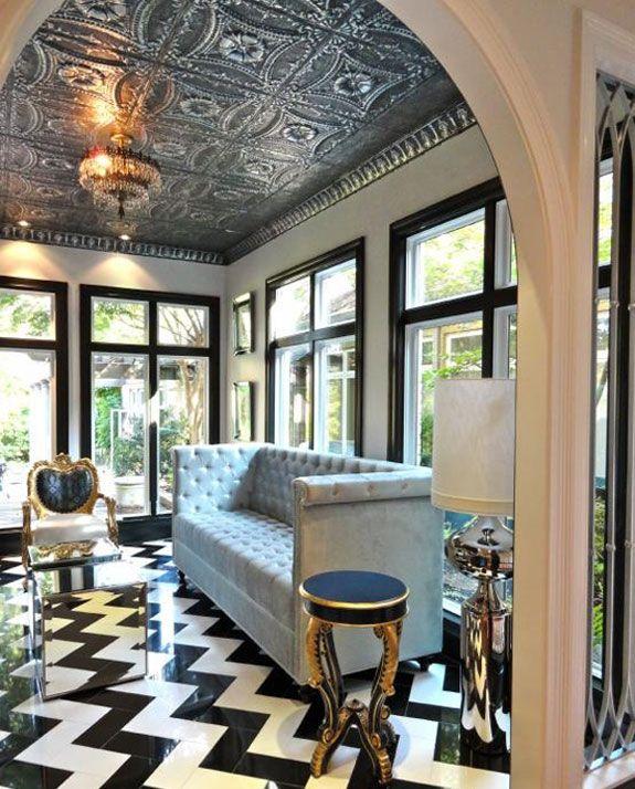 living rooms - Liv Chic interior design custom furniture modern baroque  furniture chevron marble floor black and white marble floor tin ceiling  modern ...