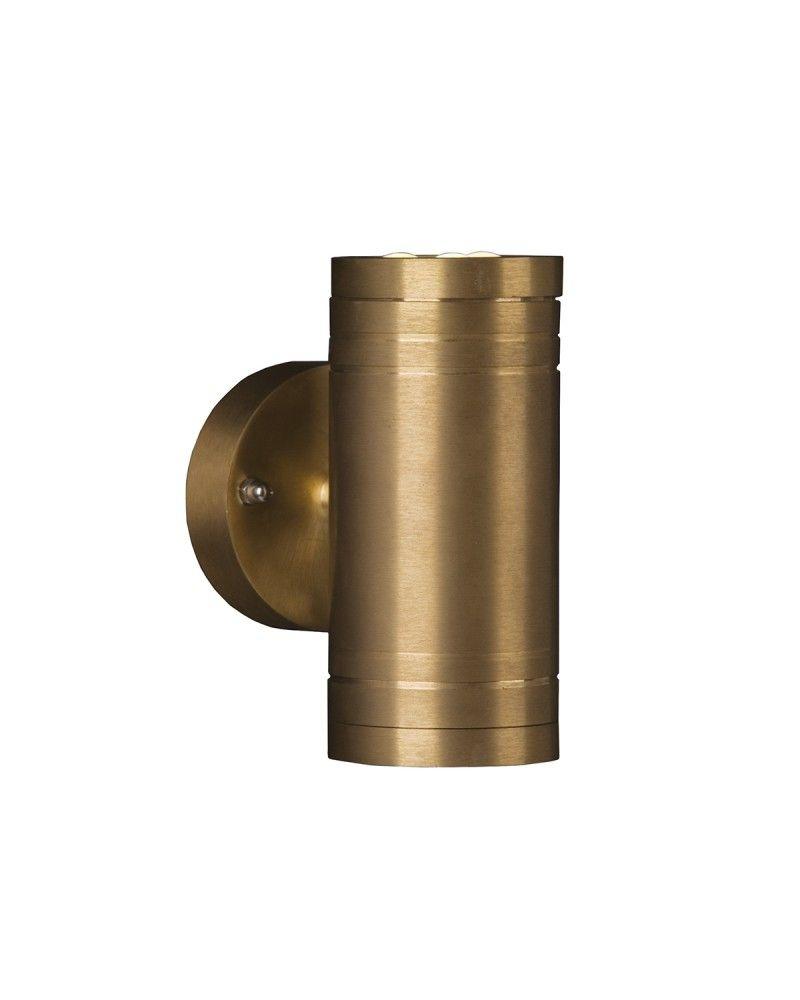Elite 2 Light Led Outdoor Up Down Wall Light In Solid Natural Brass Wall Lights Brass Wall Light Wall Lighting Design