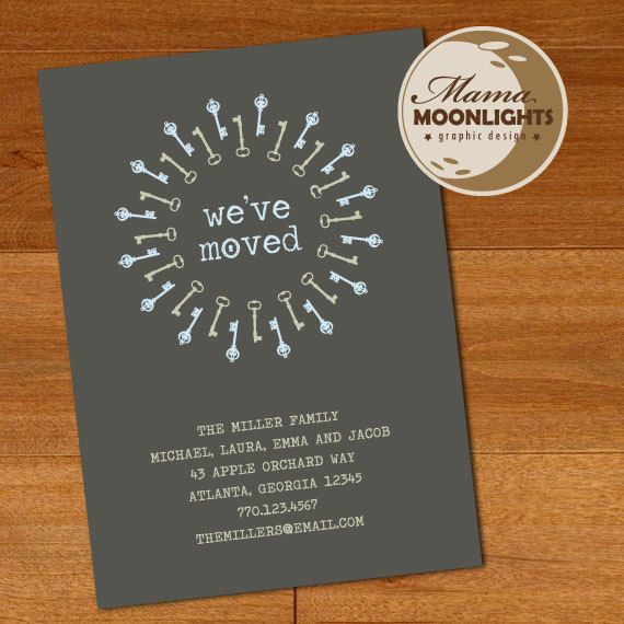 we moved moving announcement new home house warming invitation