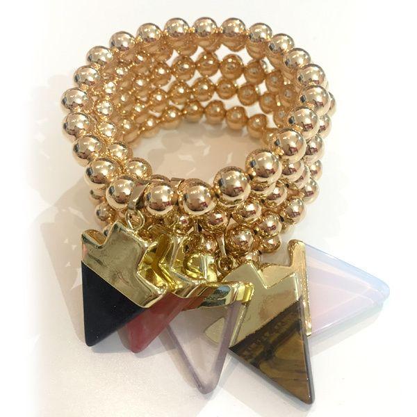 Bracelets By Vila Veloni Cute Gold Pellets With Stone Arrow