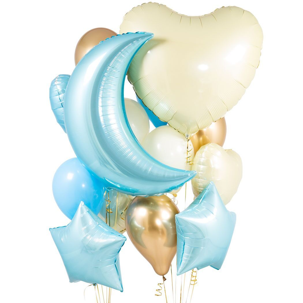 Baby Blue Foil Balloon Bunch