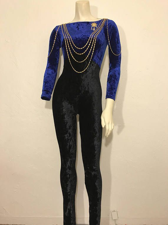 db763a44290 Vintage Royal Blue and Black Color Block Velour Jumpsuit   Skintight  Backless Long Sleeve Crushed Velvet Unitard   Made In London England   WEAR  MOI ...