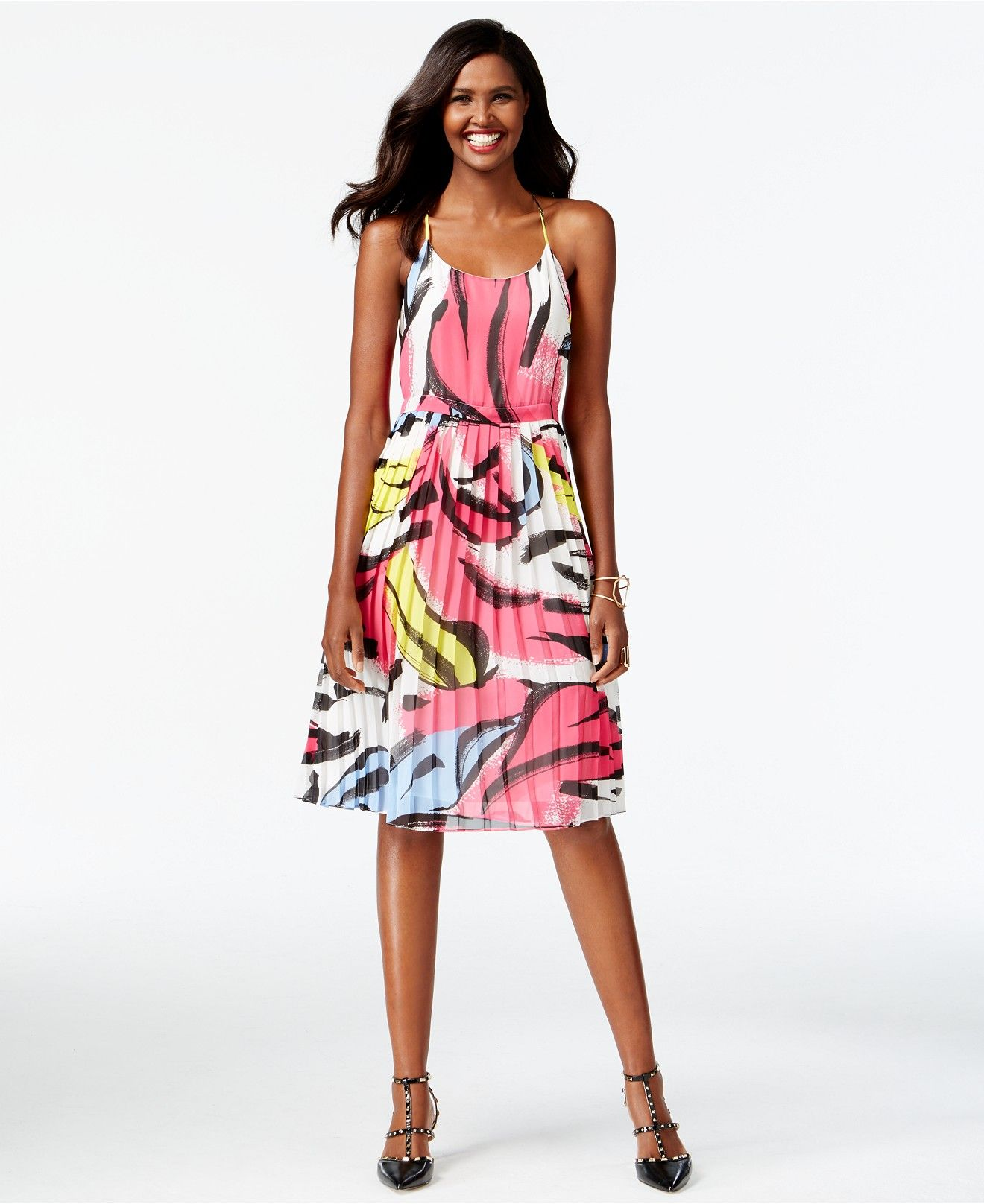 Inc international concepts printed pleated popover dress