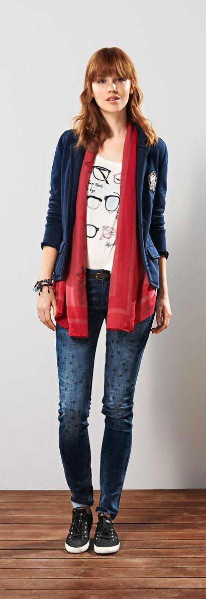 Hilfiger Denim FW13 Velvet Bookworm T-Shirt, Marlene Blazer, Sophie Super Slim Fit Jeans, Baily Scarf #hilfigerdenim #tommyhilfiger #FW13 #womenswear #Autumn2013