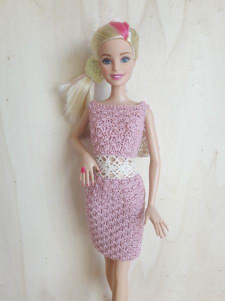 Puppenkleidung - Barbie Kleid (gehäkelt), (rosa) - ein Designerstück ...