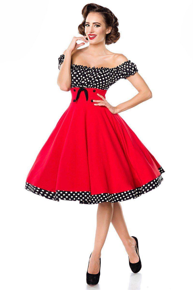 a1350302adf5f4 Schulterfreies Swing Kleid ° Rot Schwarz Weiß ° Belsira