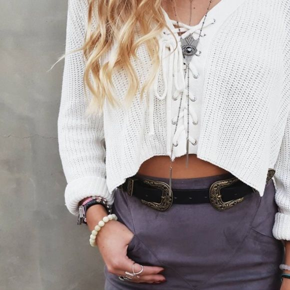 92c4c3cbf2 LF white lace up crop sweater Various sizes available. This is a listing  for S. Bnwt. NO TRADES. LF Sweaters