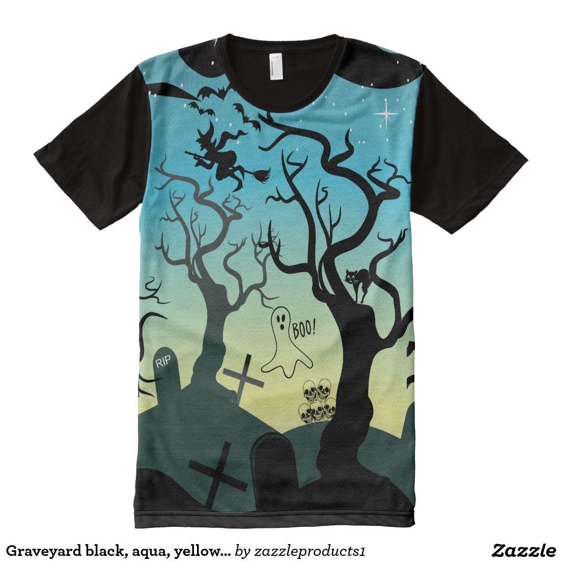 Graveyard black, aqua, yellow Halloween All-Over Print T-shirt