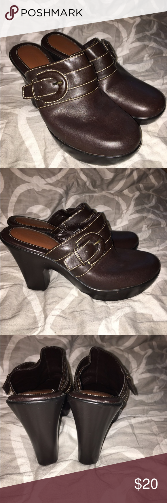 """Tommy Hilfiger brown clog bootie I don't remember ever wearing these, but maybe once… size 10 4.5""""heel.  1""""platform Tommy Hilfiger Shoes"""