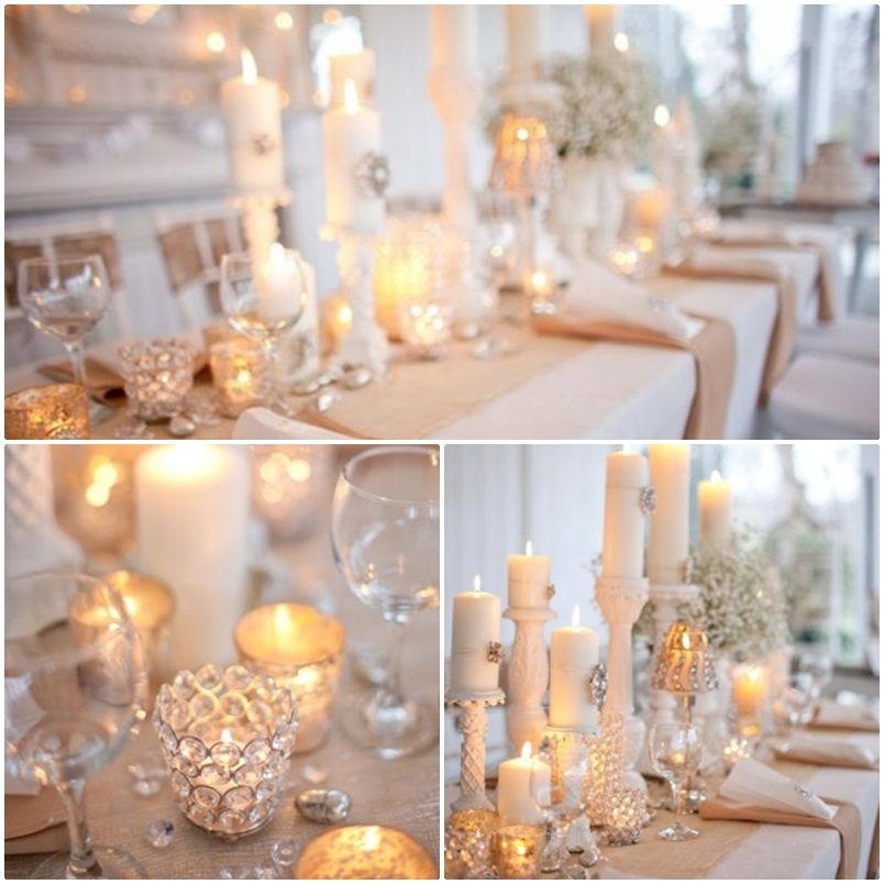 candle centerpieces daytime wedding