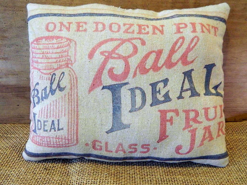 Primitive Vintage Ball Canning Jar Label Handmade Tea Dyed Feed Sack Pillow - Cupboard Tuck by LakeCountryAntiques on Etsy https://www.etsy.com/listing/206397047/primitive-vintage-ball-canning-jar-label