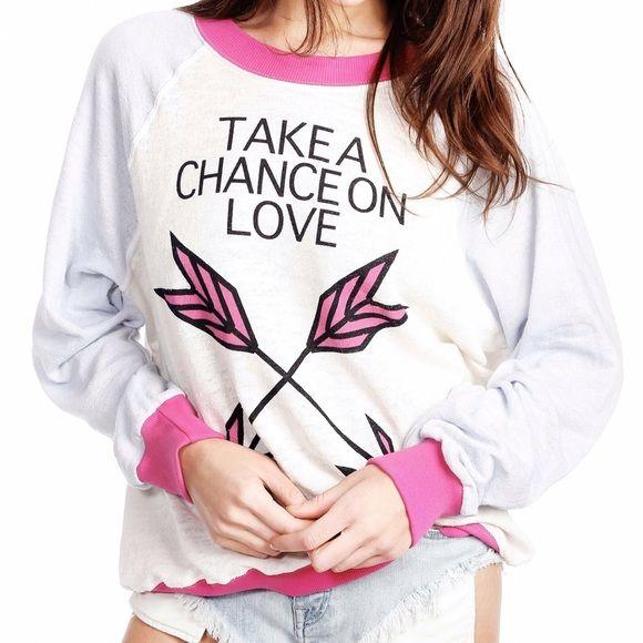 Wildfox Kims jumper sweatshirt take a chance on M Kims sweater. Take a chance on love. Can't buy this online no more! Cute Colorblock details. Wildfox Tops Sweatshirts & Hoodies