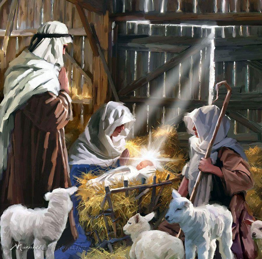 Holy Family Admires Jesus Nativity Religious Christmas: Дух рождества. Художник Richard Macneil.. Обсуждение на