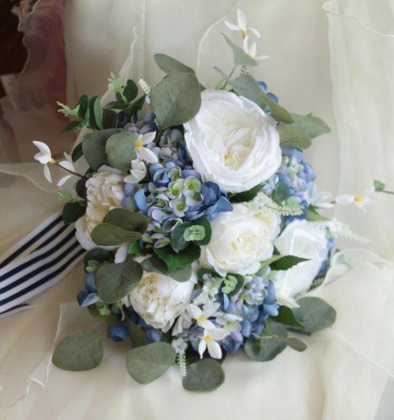 boho wedding bouquet blue and white bouquet eucalyptus peony garden rose and - Garden Rose And Hydrangea Bouquet