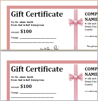 Business Gift Certificate Template At DotxlsOrg  Microsoft