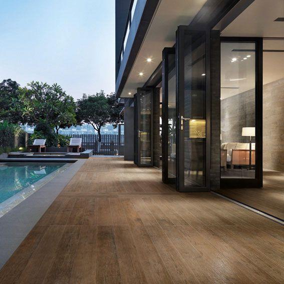 Pavimento de gres porcelánico imitación madera NATURE by CERAMICA - fachada madera