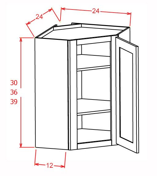"Wall Diagonal Corner cabinet 12""D"
