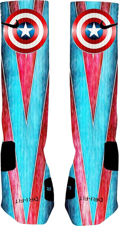 Captain American Custom Nike Elite Socks >>> Want additional info? Click on the image.