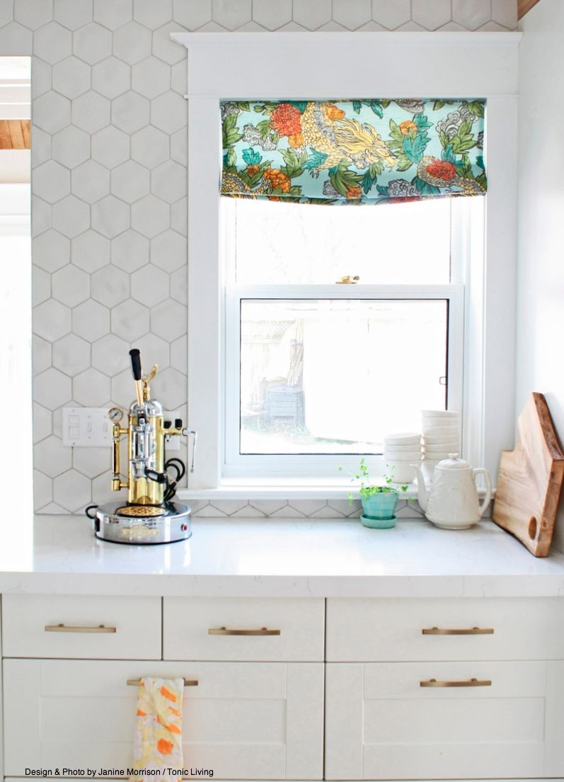 - Large Hex Tile On Kitchen Wall. Custom Ming Dragon Valance By