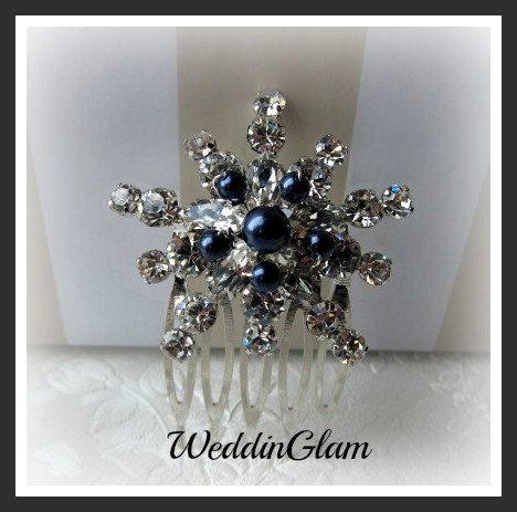 Navy Blue Elegant Headpiece Hair Accessories Bridal Comb Swarovski Dark Pearls Snow Flakes Clip Maid Of Honor Gift