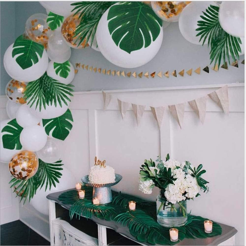 60pcs Artificial Tropical Palm Leaves Decorations/Faux Monstera Leaves with Stems/ Hawaiian Party Luau Theme Party Jungle Beach Safari