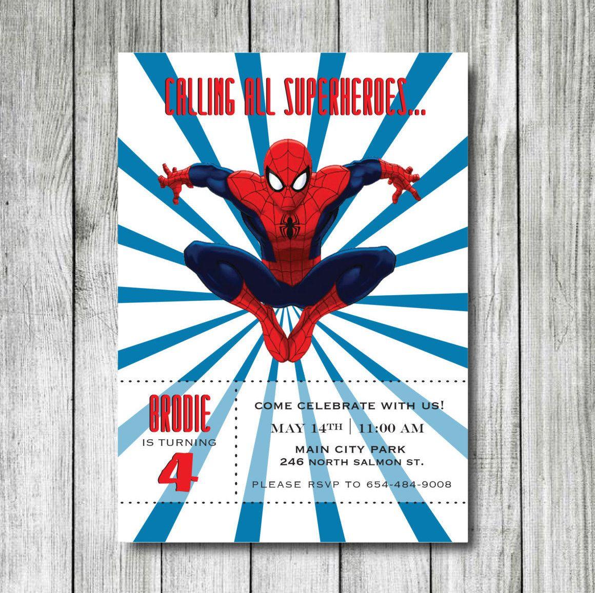 Spiderman Birthday Invitation - Superheroes Birthday Invitation ...