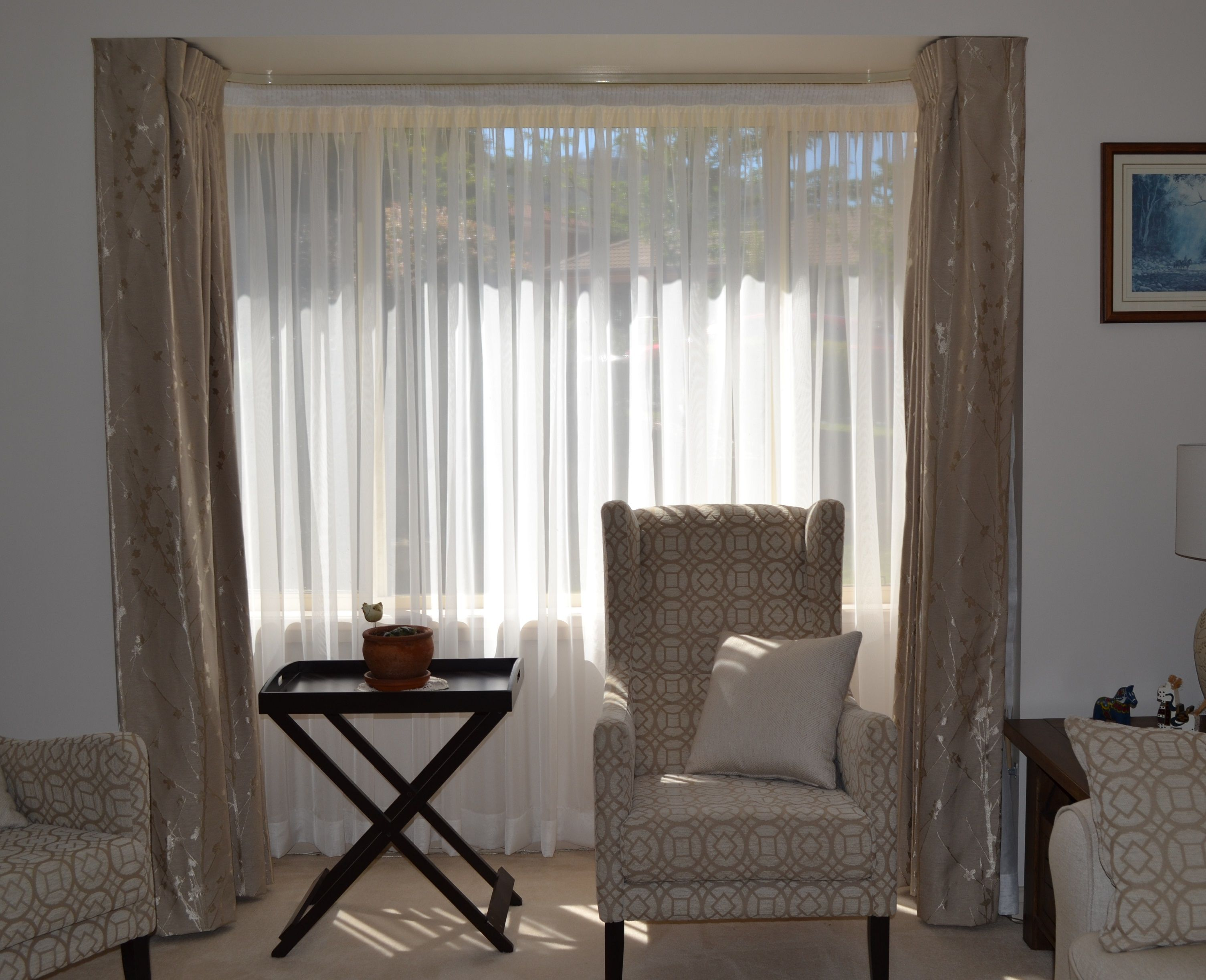 Bay Window With Double Track Main Sheer Curtains Lounge Dining Pinterest Sheer