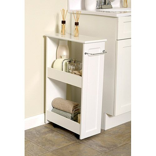 White wood slim organizer with rollers mini office for Slim white bathroom cabinet
