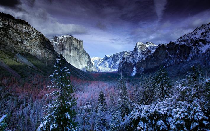 Lataa kuva Yosemite Valley, 4k, talvi, american maamerkkejä, Yosemite National Park, metsä, California, USA, Amerikassa