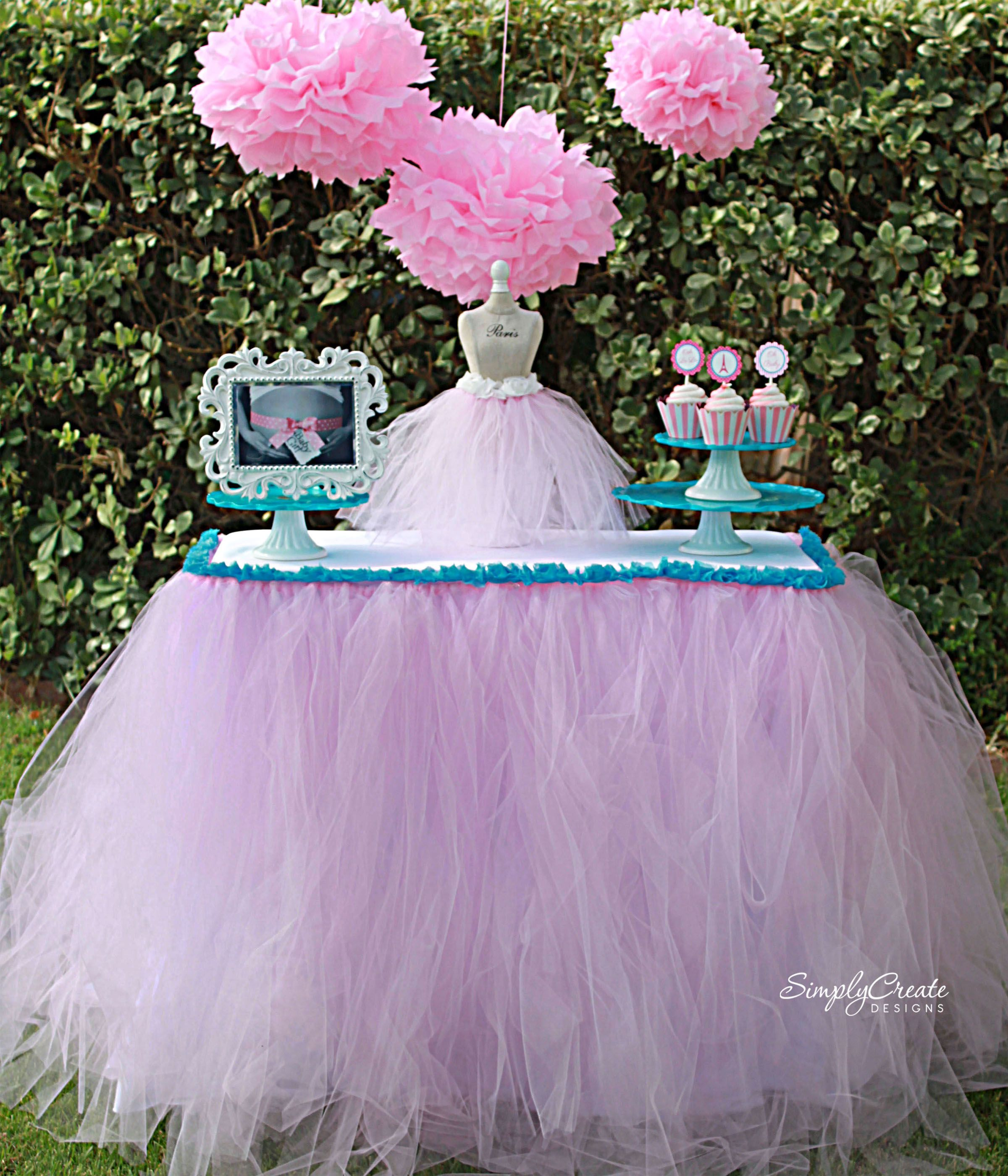 No Sew Tulle Table Skirt