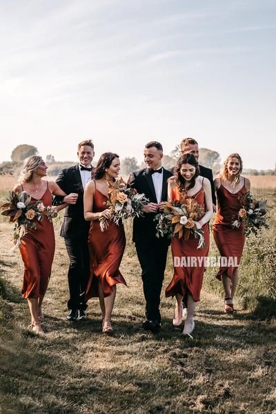 Spaghetti Straps V-neck Tea Length Silk Elastic Satin Slit Backless Bridesmaid Dress, FC3848 -   14 wedding Party green ideas