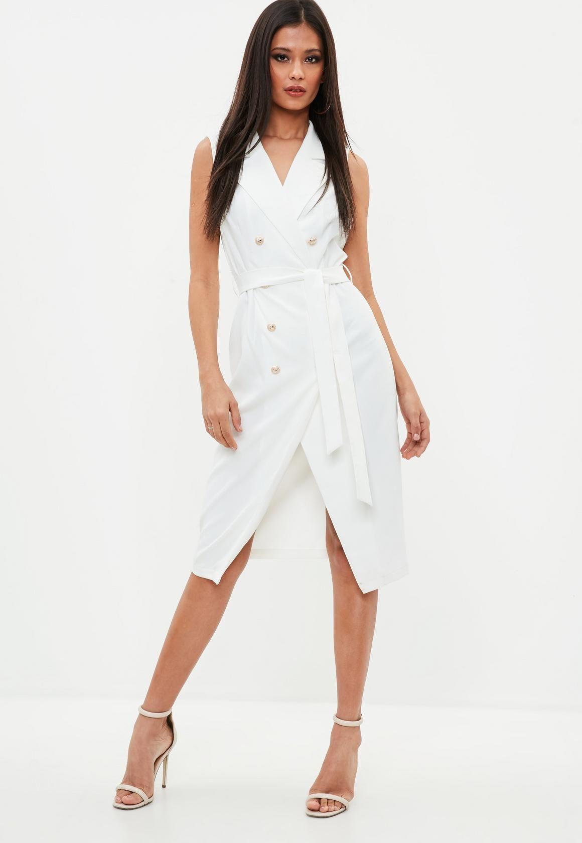 091b8e4a78740d Missguided - White Sleeveless Belted Midi Blazer Dress