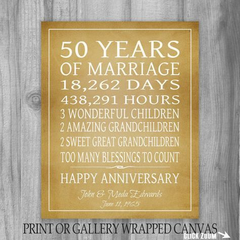3a873fc6591d3 Golden Anniversary Gift Grandparents 50th Anniversary Gift 50 Years  Personalized Print or Canvas Keepsake Gift for Parents Customized Words