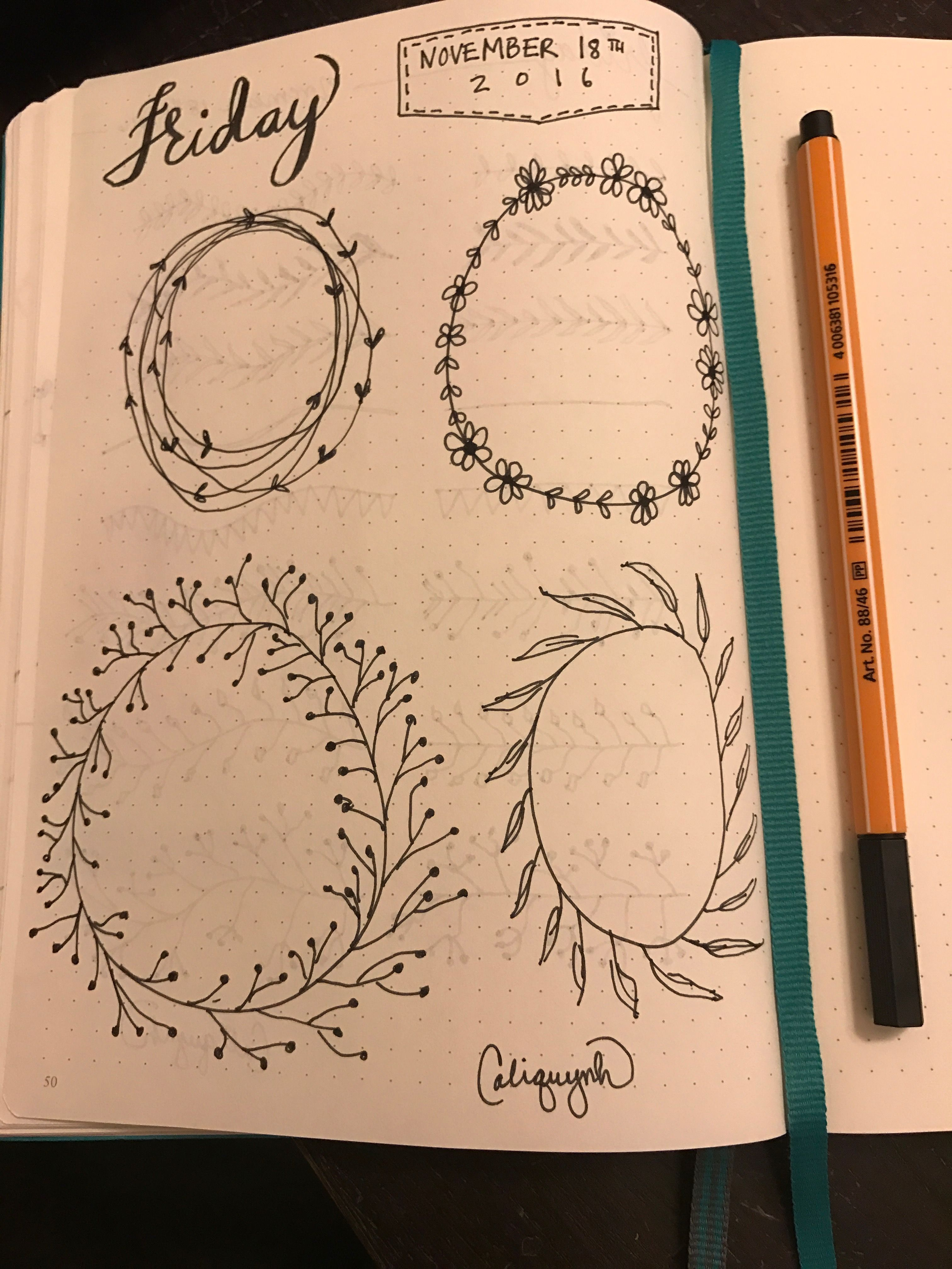 Photo of Bullet Journal Wreath Doodles Caliquynh #caliquynh #bulletjournal #bujo #bulletj…
