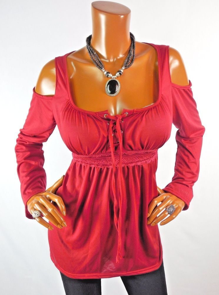 b9cfb02ecd616c New Womens Top L SEXY Red Cold Shoulder Holiday Tunic Blouse Casual Shirt  Lace #Unbranded #Blouse #Casual