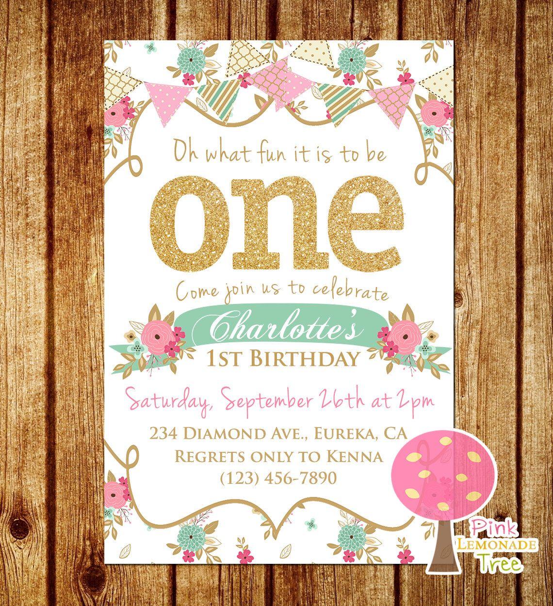 Shabby Chic First Birthday Party Invitation, Gold Glitter Birthday ...
