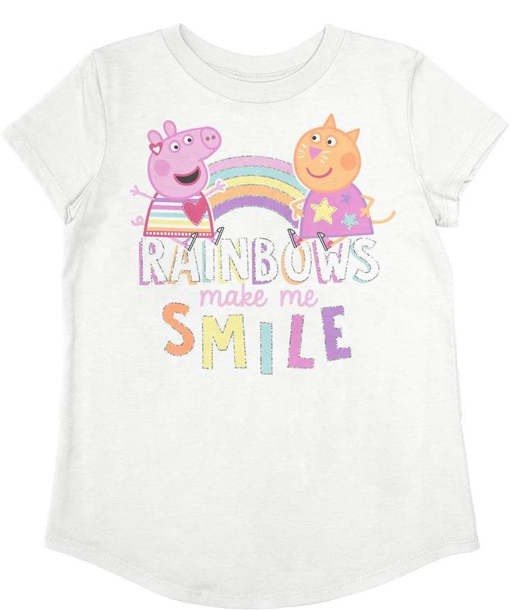 0317496b18 Peppa Pig Toddler Girl Jumping Beans & Candy Cat Rainbow Graphic Tee ...