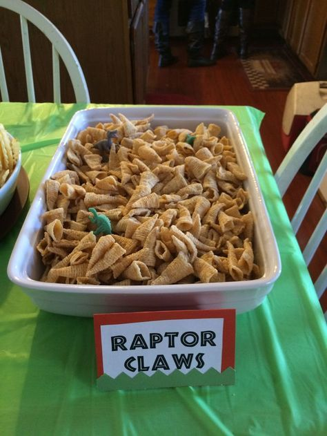 Raptor Claws- Ranch flavored Bugles with plastic Dinosaurs. Dinosaur Party - Jurassic World