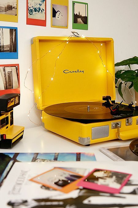 Bright vintage record player, makes me want to dig my old vinyls out! . #yellow #yellowphotos #brightyellow #happyyellow #lemon #sunshine #yellowaestheticvintage