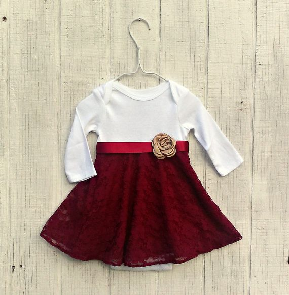 21ab3c0ffec2c7 Burgundy Baby Dress, Infant Lace Dress, Maroon Baby Dress, Special Occasion Baby  Girl Outfit, Newborn Dress, Long Sleeve Baby Clothes