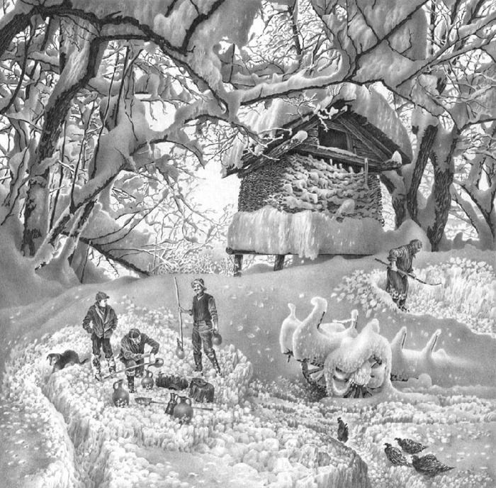 pencil drawings of winter scenes by guram dolenjashvili winter