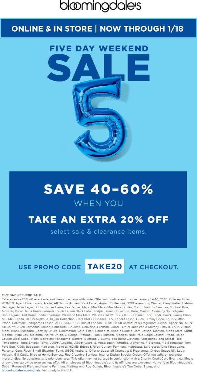 Extra 20 Off Sale Clearance At Bloomingdales Or Online Via Promo Code Take20 Shopping Coupons Promo Codes Coding
