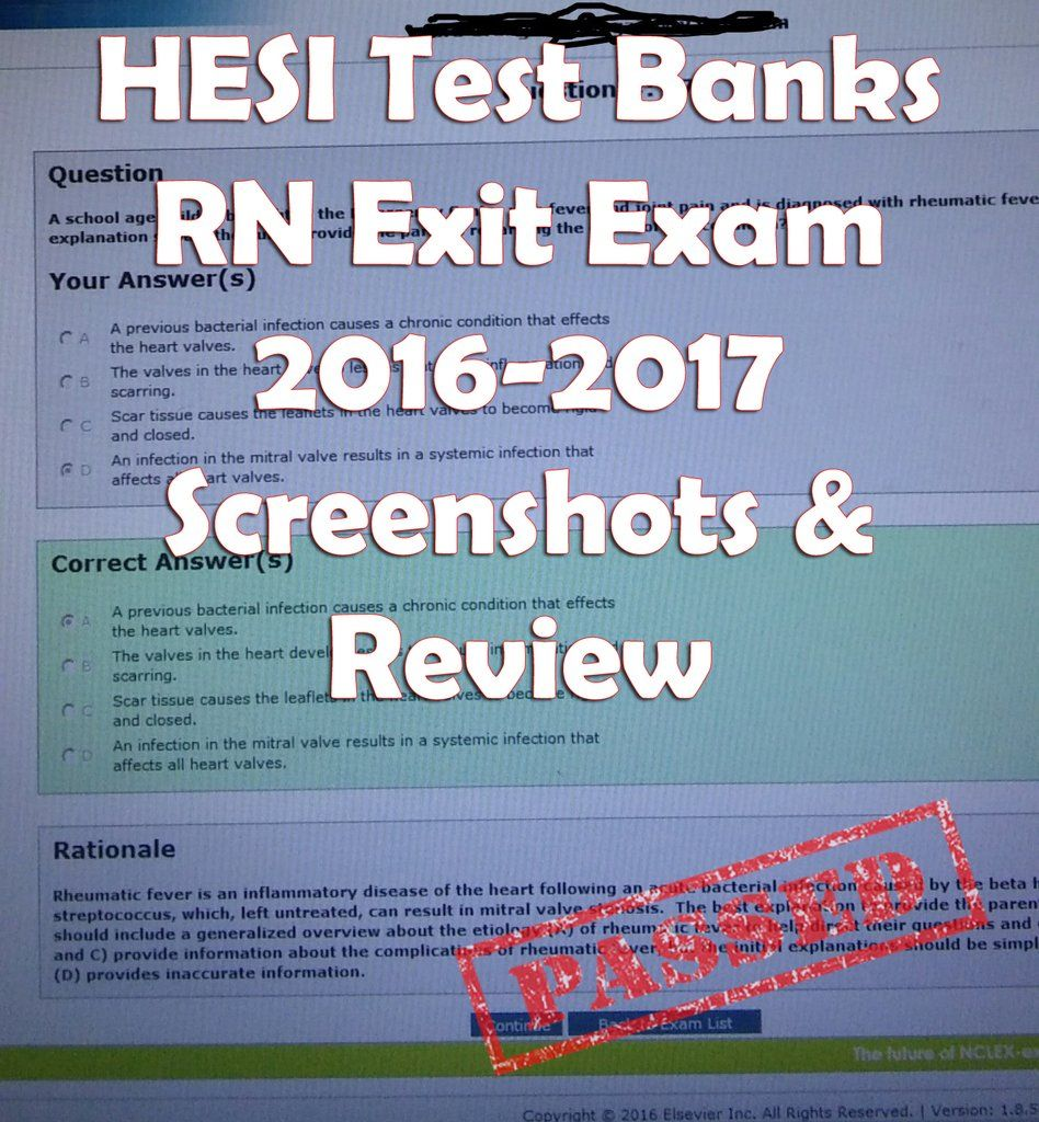 HESI Test Banks RN Exit Exam 2016-2017 Screenshots & Review
