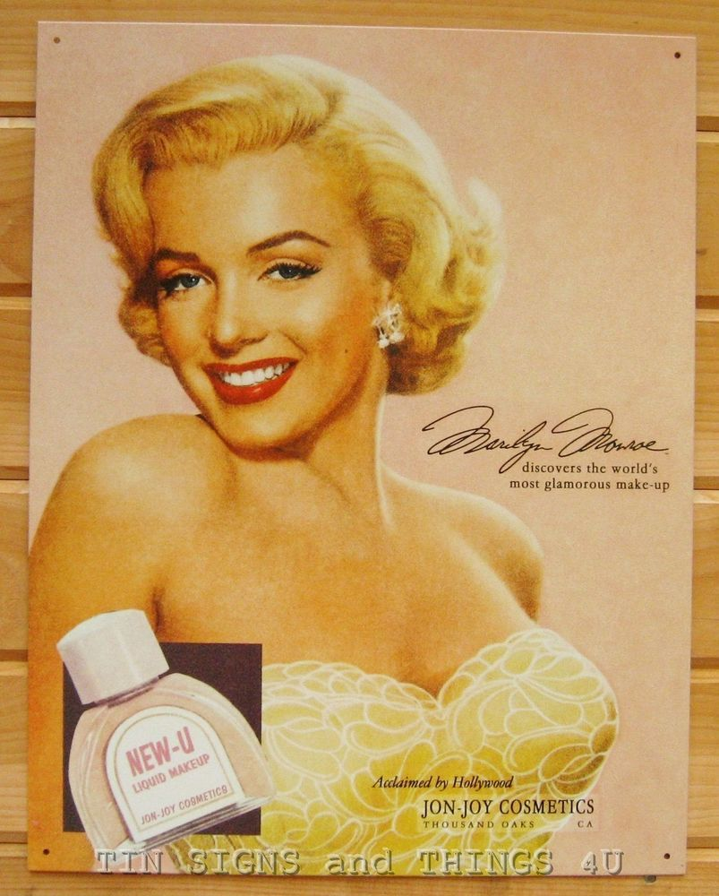 Marilyn Monroe Cosmetic ad TIN SIGN vtg bathroom metal wall decor ...