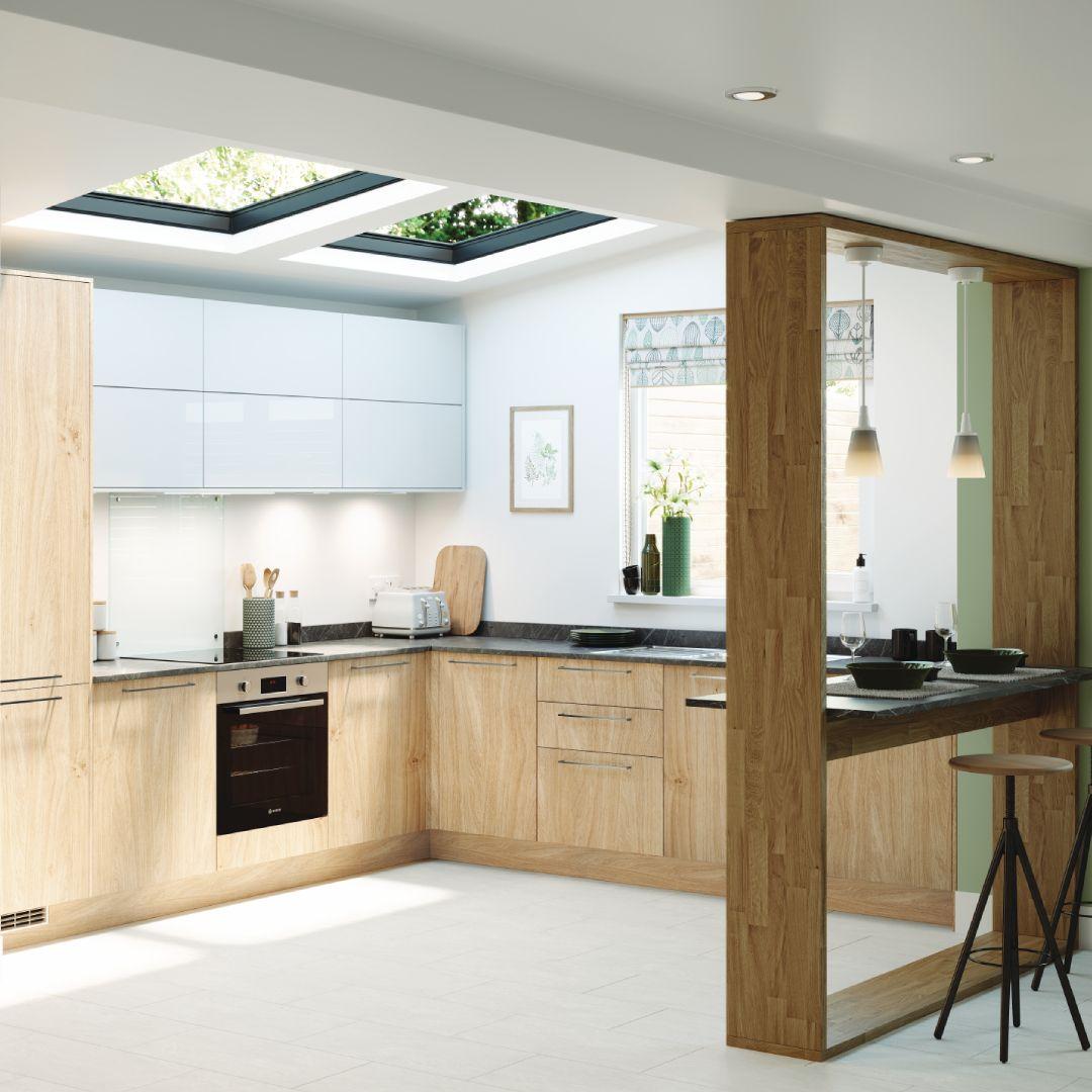 Our New Greenwich Natural Oak Kitchen Range Brings A Traditional Colour Up To Date The Slab Doors C Oak Kitchen Online Kitchen Design Interior Design Kitchen